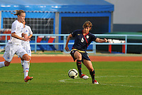 USA's Amy LePeilbet kicks away from an oncoming Iceland player.  The USWNT defeated Iceland (2-0) at Vila Real Sto. Antonio in their opener of the 2010 Algarve Cup on February 24, 2010.