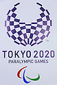 The new Tokyo 2020 Paralympic Games logo on display at the Tokyo Metropolitan building on April 27, 2016, Tokyo, Japan. After scraping the original design last year due to accusations of plagiarism; The Tokyo 2020 Logo Selection Committee settled this week on a simple indigo-and-white checkered circle design by Asao Tokolo as a new emblem for the 2020 Summer Olympic Games. The final decision was announced on Monday 25th April after the selection committee had checked through almost 15,000 design proposals. The new logos are already starting to appear on Tokyo 2020 related communications. (Photo by Rodrigo Reyes Marin/AFLO)
