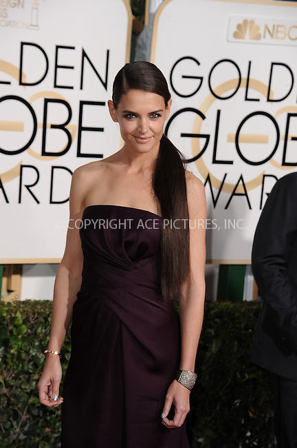 WWW.ACEPIXS.COM<br /> <br /> January 11 2015, LA<br /> <br /> Katie Holmes arriving at the 72nd Annual Golden Globe Awards at The Beverly Hilton Hotel on January 11, 2015 in Beverly Hills, California.<br /> <br /> <br /> By Line: Peter West/ACE Pictures<br /> <br /> <br /> ACE Pictures, Inc.<br /> tel: 646 769 0430<br /> Email: info@acepixs.com<br /> www.acepixs.com