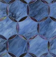 Hex Circle, a water jet jewel glass mosiac, shown in Amethyst and Marcasite is part of the Ann Sacks Beau Monde collection sold exclusively at www.annsacks.com