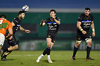 Freddie Burns of Bath Rugby receives the ball. European Rugby Champions Cup match, between Benetton Rugby and Bath Rugby on January 20, 2018 at the Municipal Stadium of Monigo in Treviso, Italy. Photo by: Patrick Khachfe / Onside Images