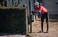 Giacomo Nizzolo (ITA/Trek-Segafredo) after having crashed<br /> <br /> Omloop Het Nieuwsblad 2018<br /> Gent &rsaquo; Meerbeke: 196km (BELGIUM)
