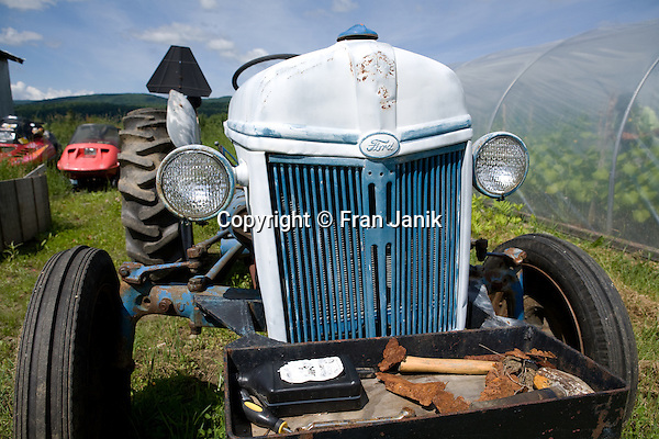 An older Ford farm tractor sits next to a greenhouse on a farm in Vermont. The farmer can be seen in the greenhouse tending to his plants. Two smowmobiles sit idle in the summer weather and in the distance the green mountians are framed by a blue sky