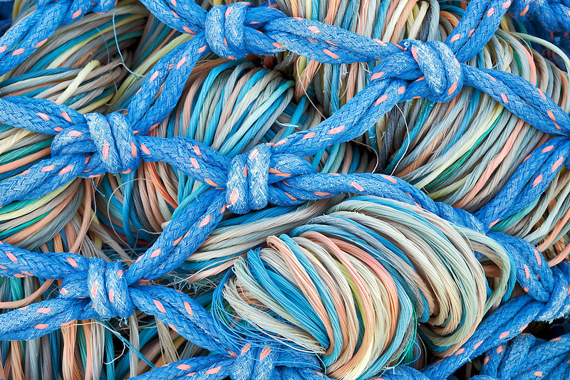 Colorful fishing nets and ropes. Brookings, Oregon