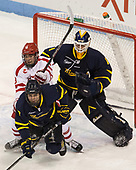 Jonathan Lashyn (Merrimack - 7), Ryan Cloonan (BU - 8), Collin Delia (Merrimack - 1) - The visiting Merrimack College Warriors defeated the Boston University Terriers 4-1 to complete a regular season sweep on Friday, January 27, 2017, at Agganis Arena in Boston, Massachusetts.The visiting Merrimack College Warriors defeated the Boston University Terriers 4-1 to complete a regular season sweep on Friday, January 27, 2017, at Agganis Arena in Boston, Massachusetts.