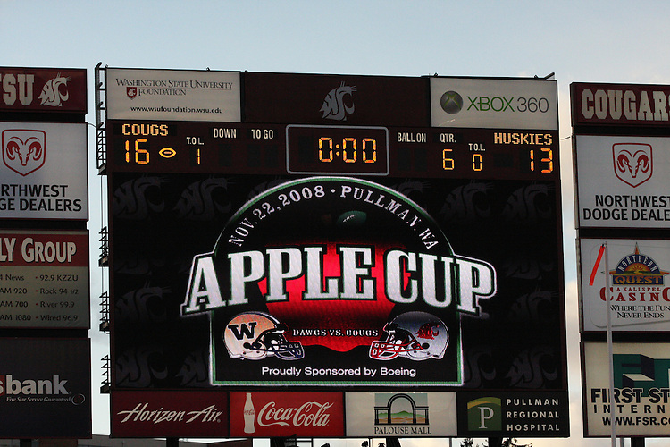 "The scoreboard tells the story of the ""Apple Cup"" football game played between the Washington State Cougars and the Washington Huskies on November 22, 2008, at Martin Stadium in Pullman, Washington.  The Cougars beat the Huskies in their annual rivalry game 16-13 in a double overtime thriller."