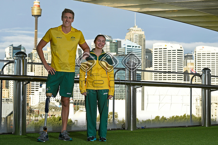 Sporting 2XU gear - Brenden Hall and Maddison Elliott / Para-swimming athletes<br /> 2016 APC RIO Uniform Launch with the city of Sydney as the backdrop shot from the Star Casino<br /> Australian Paralympic Committee<br /> Star Casino / Sydney / NSW<br /> Monday 6 June 2016<br /> &copy; Sport the library / Jeff Crow