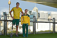 Sporting 2XU gear - Brenden Hall and Maddison Elliott / Para-swimming athletes<br /> 2016 APC RIO Uniform Launch with the city of Sydney as the backdrop shot from the Star Casino<br /> Australian Paralympic Committee<br /> Star Casino / Sydney / NSW<br /> Monday 6 June 2016<br /> © Sport the library / Jeff Crow