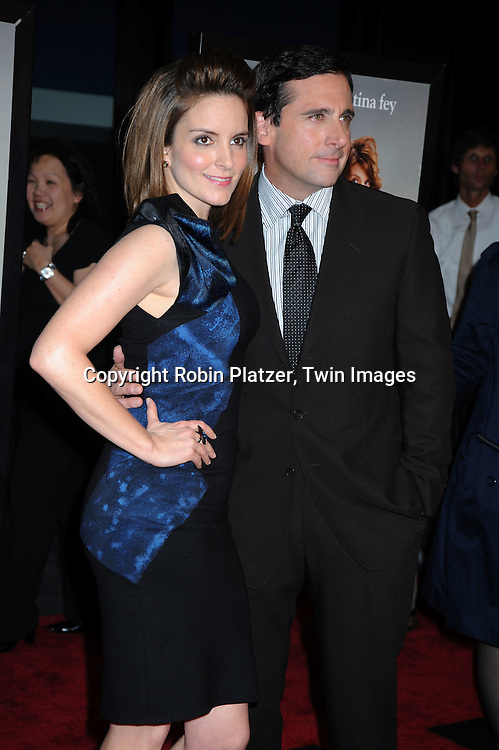 """actress Tina Fey and Steve Carell arriving at The Premiere of """"Date Night on April 6, 2010 at the Ziegfeld Theatre in New York City. The movie stars Tina Fey, Steve Carell, Taraji P Henson, Common, and Leighton Meester."""