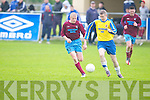 Claasic FC's Brendan Smith and Spa Road FC's Kevin Cummingham in action in the premier B Final at Mounthawk park, Tralee on Friday...