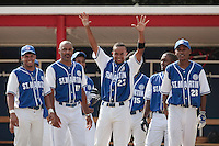 13 July 2010: Team Saint Martin celebrates a home run during day 1 of the Open de Rouen, an international tournament with Team France, Team Saint Martin, Team All Star Elite, at Stade Pierre Rolland, in Rouen, France.