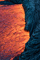 More Lava Contrast: A contrast between molten and cooling lava on the coastal plains of Pulama Pali, Hawai'i Volcanoes National Park, Hawai'i Island, September 2017.