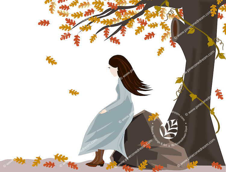 Stock vector: Cute girl sitting under autumn tree of oak, leaves blowing in wind.<br /> <br /> Also available as EPS(Scalable to infinite size) &amp; PNG(Transparent background format).