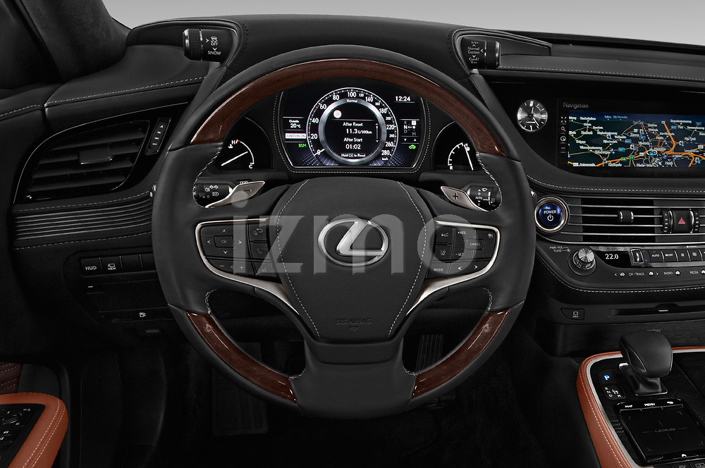 Car pictures of steering wheel view of a 2018 Lexus LS President 4wd 4 Door Sedan