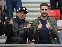 (L-R) Jefferson Montero and Angel Rangel in the stand prior to the Premier League match between Sunderland and Swansea City at the Stadium of Light, Sunderland, England, UK. Saturday 13 May 2017