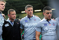 Rhys Priestland of Bath Rugby looks on in a post-match huddle. Aviva Premiership match, between Northampton Saints and Bath Rugby on September 3, 2016 at Franklin's Gardens in Northampton, England. Photo by: Patrick Khachfe / Onside Images