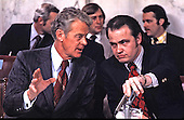 United States Senator Edward J. Gurney (Republican of Florida), left, has a question for Minority Counsel Fred Thompson, right, during Senate Watergate Committee testimony during the Summer of 1973 in Washington, DC. Thompson's family announced he passed away on Sunday, November 1, 2015 at age 73 in Nashville, Tennessee after a recurrence of lymphoma.<br /> Credit: CNP