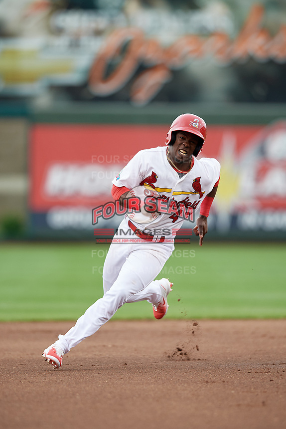 Springfield Cardinals right fielder Jose Adolis Garcia (47) runs the bases during a game against the Corpus Christi Hooks on May 31, 2017 at Hammons Field in Springfield, Missouri.  Springfield defeated Corpus Christi 5-4.  (Mike Janes/Four Seam Images)