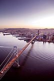 USA, California, San Francisco, View of San Francisco and the San Francisco Bay Bridge from the Airship Ventures Zeppelin