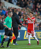 5th November 2017, Riverside Stadium, Middlesbrough, England; EFL Championship football, Middlesbrough versus Sunderland; Match Winner Marcus Tavernier of Middlesbrough gets a high five from Garry Monk the Middlesbrough Manager after he was substituted