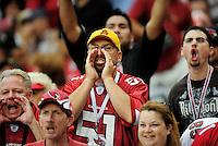 Sept. 13, 2009; Glendale, AZ, USA; Arizona Cardinals fans yell at a referee against the San Francisco 49ers at University of Phoenix Stadium. San Francisco defeated Arizona 20-16. Mandatory Credit: Mark J. Rebilas-