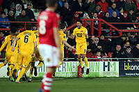 O's Macauley Bonne celebrates scoring O's opening goal during Wrexham vs Leyton Orient, Vanarama National League Football at the Racecourse Ground on 24th November 2018