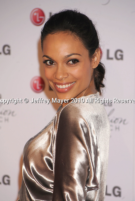 WEST HOLLYWOOD, CA. - May 24: Rosario Dawson arrives at A Night Of Fashion & Technology With LG Mobile Phones Hosted By Victoria Beckham & Eva Longoria at Soho House on May 24, 2010 in West Hollywood, California.