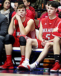 UNCASVILLE CT. 17 March 2018-031718SV03-From left, #50 Eric Fowler and #5 Reid Turtoro of Wamogo react on the bench to the teams 58-40 loss to Cromwell during the CIAC Division V Finals at Mohegan Sun Arena in Uncasville Saturday.<br /> Steven Valenti Republican-American