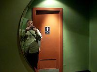 Self portrait at the historic River Oaks Theatre in Houston, Texas in 2007.