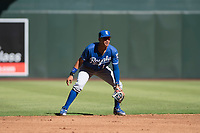 Kansas City Royals shortstop Jeison Guzman (1) during an Instructional League game against the Arizona Diamondbacks at Chase Field on October 14, 2017 in Scottsdale, Arizona. (Zachary Lucy/Four Seam Images)