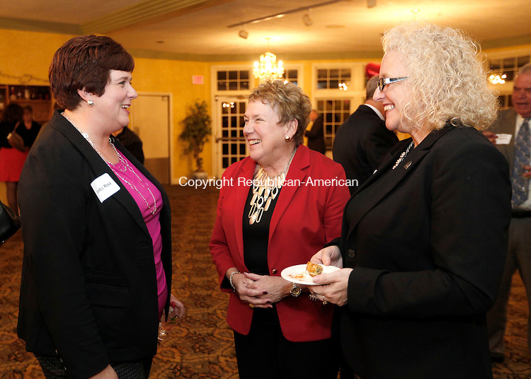 "Torrington, CT- 10 November 2016-111016CM07- From left, Anita Rosa with the Northwest Connecticut's Chamber of Commerce,  JoAnn Ryan President & CEO  at the Chamber, and Joyce Muse campaign vice chair, share a laugh during a United Way of Northwest Connecticut fundraiser at Chatterley's Banquet Facility in Torrington on Thursday.  This year's theme was ""Give from the heart; change the future"" and the United way of Northwest Connecticut is looking to raise $800,000.    Christopher Massa Republican-American"