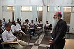 ETHIOPIA , Dire Dawa / AETHIOPIEN, Dire Dawa, Bischof von Harar Kapuziner Angelo Pagano vor Jugendlichen der Gemeinde