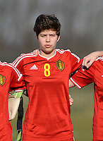 20150307 - TUBIZE , BELGIUM : Belgian Isabelle Iliano pictured during the friendly female soccer match between Women under 19 teams of  Belgium and Czech Republic . Saturday 7th March 2015 . PHOTO DAVID CATRY