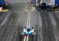 Feb 22, 2014; Chandler, AZ, USA; NHRA funny car driver Jeff Diehl hits the timing blocks on the center line during qualifying for the Carquest Auto Parts Nationals at Wild Horse Pass Motorsports Park. Mandatory Credit: Mark J. Rebilas-USA TODAY Sports