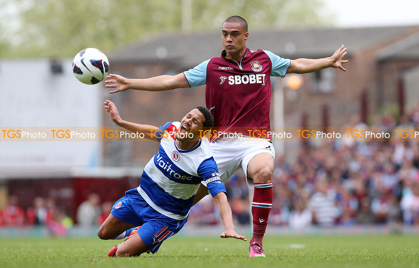 Winston Reid of West Ham and Jobi McAnuff of Reading - West Ham United vs Reading, Barclays Premier League at Upton Park, West Ham - 19/05/13 - MANDATORY CREDIT: Rob Newell/TGSPHOTO - Self billing applies where appropriate - 0845 094 6026 - contact@tgsphoto.co.uk - NO UNPAID USE.