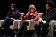 January 12, 2012  (Washington, DC)  New York Times best-selling author Barbara Ehrenreich (center) speaks during the Remaking America panel discussion at the George Washington University Lisner Auditorium in Washington.  Radio and television talk show host Tavis Smiley moderated the discussion on restoring America's prosperity.  Majora Carter (left); Dr. Cornell West (right).  (Photo by Don Baxter/Media Images International)