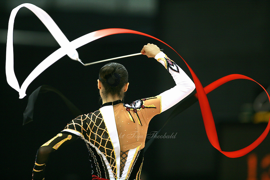 Anna Bessonova of Ukraine waves with ribbon at 2006 Aeon Cup Worldwide Clubs Championships in rhythmic gymnastics on November16, 2006.  (Photo note: This image is very very similiar to the Duisburg World Cup 2005 image.)<br />