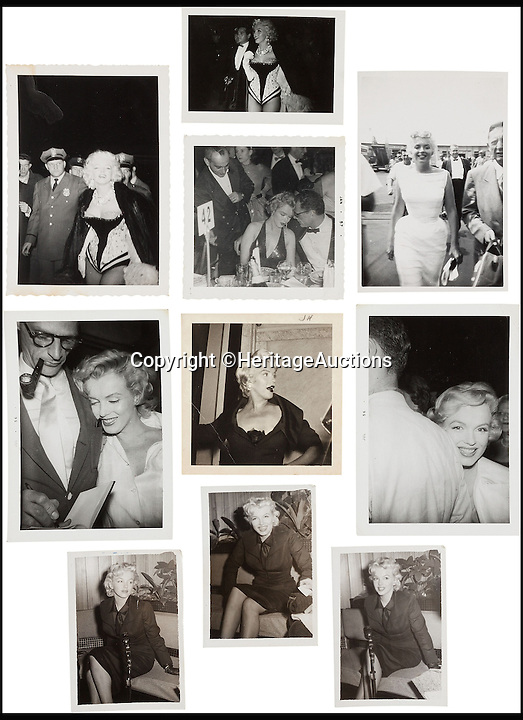 BNPS.co.uk (01202 558833)<br /> Pic: HeritageAuctions/BNPS<br /> <br /> A rare group of black and white images of Marilyn Monroe at various public events including seven with her then-husband, Arthur Millerin.<br /> <br /> A trove of rare and never-seen-before snapshots of Hollywood legend Marilyn Monroe have emerged for sale from the collection of a superfan who spent years following the star.<br /> <br /> The collection of 183 pictures of the pin up were all taken around New York in the mid-1950s by superfan James Collins, a teenager who was a member of the 'Monroe 6'.<br /> <br /> The youngsters were such avid fans Monroe ended up knowing them all by name and allowed them special access to her to take countless photos and signed numerous autographs.<br /> <br /> Collins is now auctioning the 183 photos in 18 lots through Heritage Auctions in Dallas, Texas.