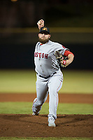 Mesa Solar Sox relief pitcher Mike Shawaryn (55), of the Boston Red Sox organization, delivers a pitch during an Arizona Fall League game against the Scottsdale Scorpions on October 9, 2018 at Scottsdale Stadium in Scottsdale, Arizona. The Solar Sox defeated the Scorpions 4-3. (Zachary Lucy/Four Seam Images)