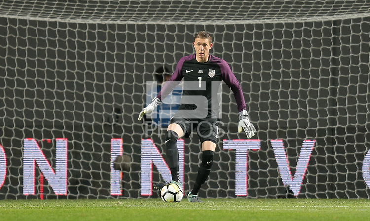 Leiria, Portugal - Tuesday November 14, 2017: Ethan Horvath during an International friendly match between the United States (USA) and Portugal (POR) at Estádio Dr. Magalhães Pessoa.