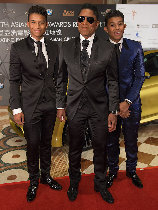 On the red carpet in Macau-Jermaine Jackson with his children (L) Jermajesty and (R)Jaafar at the 9th Asian Film awards at the Venetian Macau.25.03.15. 25th March 2015.