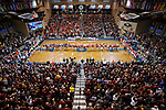 SIOUX FALLS, SD: MARCH 24:  A large crowd of 3,538 watches the Air Force National Guard and friends unfurl the flag prior to the National Anthem before the championship game between Ferris State and Northern State at the 2018 Division II Men's Basketball Championship at the Sanford Pentagon in Sioux Falls, S.D. (Photo by Dick Carlson/Inertia)