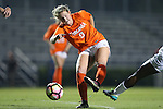 15 October 2016: Virginia's Taylor Ziemer takes a shot. The Duke University Blue Devils hosted the University of Virginia Cavaliers at Koskinen Stadium in Durham, North Carolina in a 2016 NCAA Division I Women's Soccer match. Duke won the game 1-0.