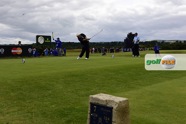 John DALY (USA) tees off the 7th tee during Friday's Round 2 of the 144th Open Championship, St Andrews Old Course, St Andrews, Fife, Scotland. 17/07/2015.<br /> Picture Eoin Clarke, www.golffile.ie