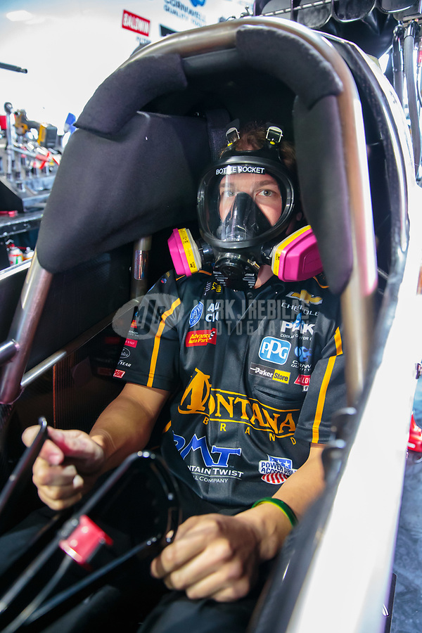 Feb 9, 2019; Pomona, CA, USA; NHRA top fuel driver Austin Prock during qualifying for the Winternationals at Auto Club Raceway at Pomona. Mandatory Credit: Mark J. Rebilas-USA TODAY Sports