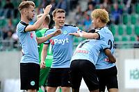 RODINGHAUSEN, Voetbal, Rodinghausen - FC Groningen, voorbereiding  seizoen 2017-2018, 15-07-2017, FC Groningen speler Ritsu Doan wordt gefeliciteerd met zijn treffer 3-3