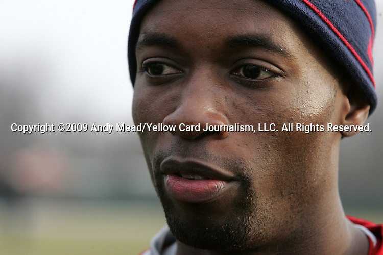09 February 2009: Midfielder DaMarcus Beasley talks to the media. The United States Men's National Team held a training session at the Columbus Crew Training Facility in Obetz, Ohio in preperation for a FIFA 2010 World Cup Qualifier.