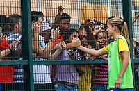 SAO PAULO, SP, 16 DE DEZEMBRO 2012  - TORNEIO INTERNACIONAL CIDADE DE SAO PAULO - Erica jogadora do Brasil apos partida contra Dinamarca valoda para o Torneio Internacional Cidade se Sao Paulo no Estadio do Pacaembu na tarde deste domingo . FOTO VANESSA CARVALHO - BRAZIL PHOTO PRESS.