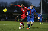 Marvin Morgan of Hornchurch and Harry Gibbs of Aveley during Hornchurch vs Aveley, Buildbase FA Trophy Football at Hornchurch Stadium on 11th January 2020