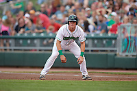 Dayton Dragons catcher Tyler Stephenson (9) leads off first base during a game against the Cedar Rapids Kernels on May 10, 2017 at Fifth Third Field in Dayton, Ohio.  Cedar Rapids defeated Dayton 6-5 in ten innings.  (Mike Janes/Four Seam Images)